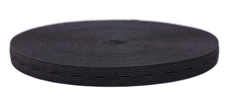 Black sewing elastic band isolated on white background.