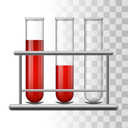 Medical test tubes with blood in rack. Transparent glass flasks. Vector illustration. Illustration