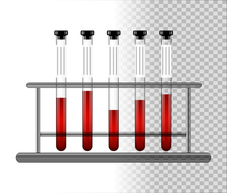 Medical test tubes with blood in rack. Transparent glass flasks with cap. Vector illustration. Illustration
