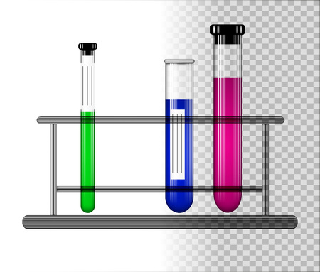 Test tubes with liquid on a glass stand. Transparent glass flasks with cap. Vector illustration. Illustration