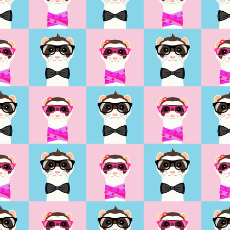 Ferret girl and boy portrait with glasses. Seamless pattern. Vector illustration. Illustration