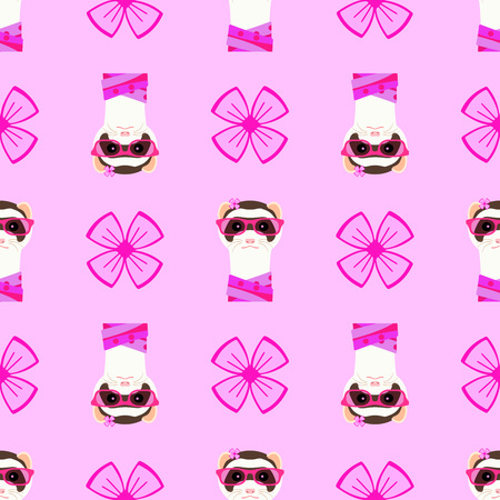 Ferret girl portrait with pink glasses and scarff. Seamless pattern. Vector illustration.