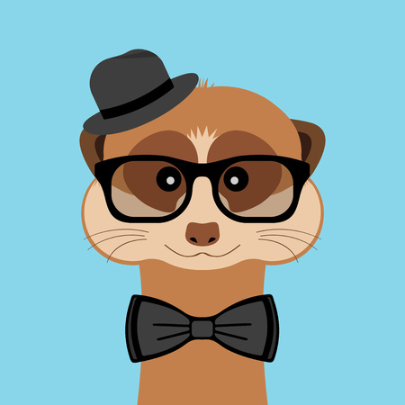 Meerkat boy portrait with glasses, hat and bow tie. Vector illustration. Vectores