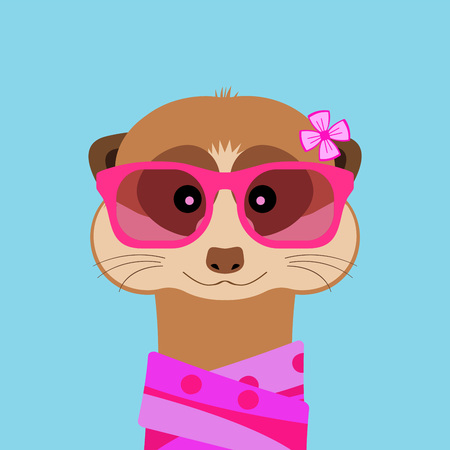 Meerkat girl portrait with pink glasses and scarff. Vector illustration. Vectores