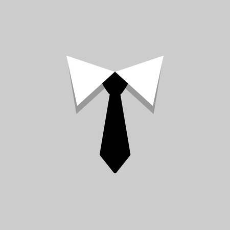 Black tie and white collar icon. Men accessories. Vector illustration.