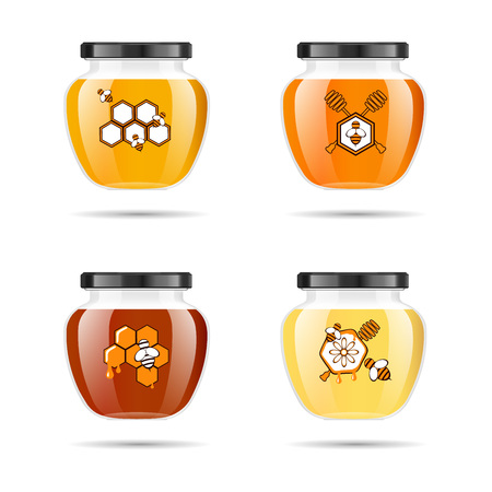 Realistic transparent glass jar with honey. Food bank. Honey packaging design.Mock up glass jar with design label or badges. Premium food product. Vector illustrations.
