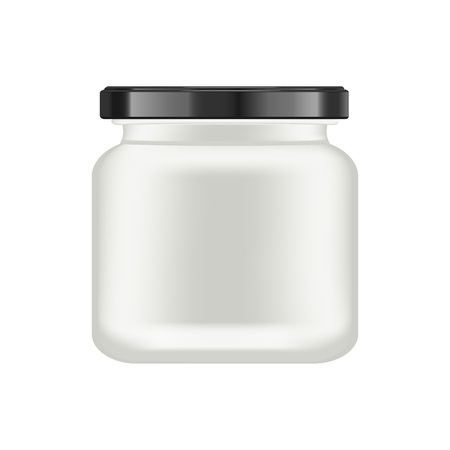 Realistic white matt glass matt jar with black lid for cosmetics - body cream, oil, scrub, gel, powder. Realistic packaging mockup template. Medical container. Vector illustrations. Ilustrace