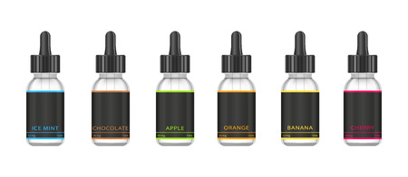 Realistic bottles mock up with tastes for an electronic cigarette with different fruit flavors. Dropper bottle with liquid for Vape. Vector illustration.