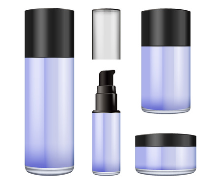 Realistic blur glass jar with plastic lid for cosmetics - body cream, butter, scrub, foundation cream, gel, skin care, powder. Premium product. Package template. Vector mock up. Illustration