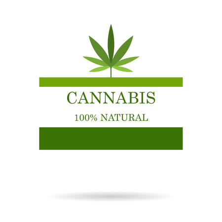 Marijuana leaf. Medical cannabis. Hemp oil. Natural cannabis. Icon product label and icon graphic template.