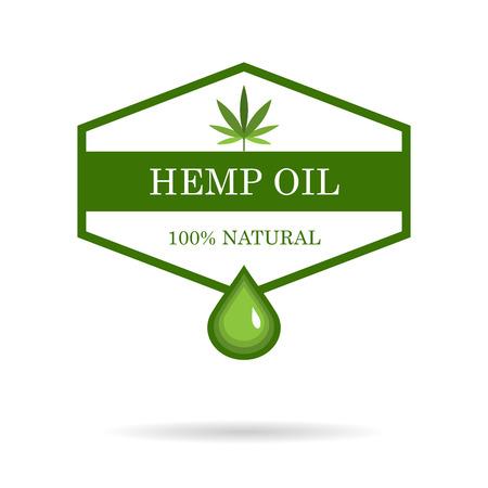 Hoja de marihuana. Cannabis medicinal. Aceite de cáñamo. Extracto de cannabis. Etiqueta de producto de icono y plantilla gráfica de icono.