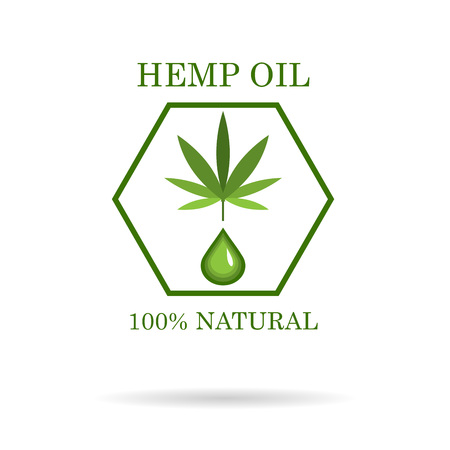 Marijuana leaf. Medical cannabis. Hemp oil. Cannabis extract. Icon product label and icon graphic template.