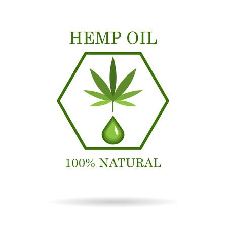Feuille de marijuana. Cannabis médical. L'huile de chanvre. Extrait de cannabis. Étiquette de produit d'icône et modèle graphique d'icône. Vecteurs