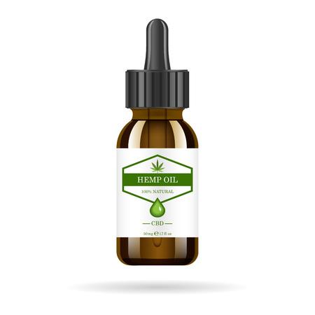 Bouteille en verre brun réaliste avec de l'huile de chanvre. Maquette d'extraits d'huile de cannabis dans des pots. Marijuana médicale sur l'étiquette. Vecteurs