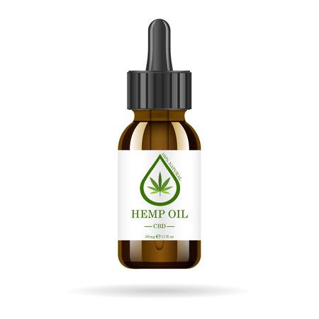 Botella de vidrio marrón realista con aceite de cáñamo. Maqueta de extractos de aceite de cannabis en frascos. Marihuana medicinal en la etiqueta.