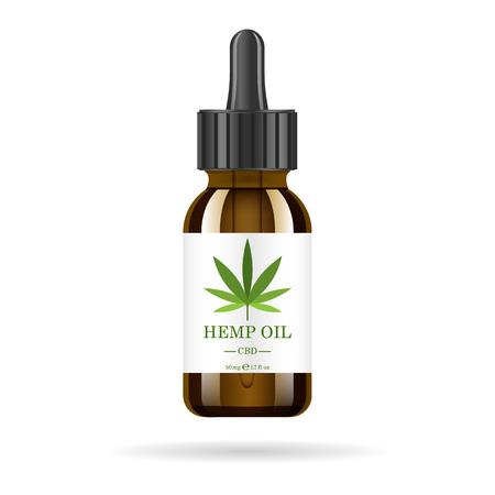 Realistische bruine glazen fles met hennepolie. Bespotten van extracten van cannabisolie in potten. Medische marihuana op het etiket.