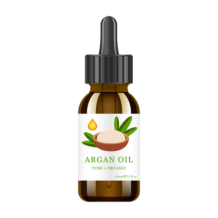 Realistic brown glass bottle with argan extract. Beauty and cosmetics oil - argan. Product label and   template.