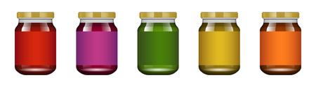 Pot en verre avec confiture et configurer. Collection d'emballage. Étiquette pour confiture. Banque réaliste. Maquette de bocal en verre sans étiquette de conception