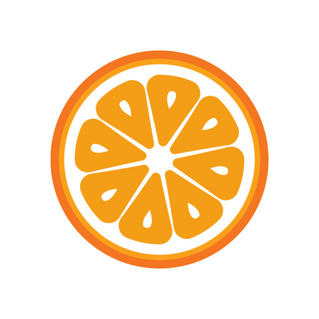 Orange fruit slice closeup icon, round piece of orange. Ilustração