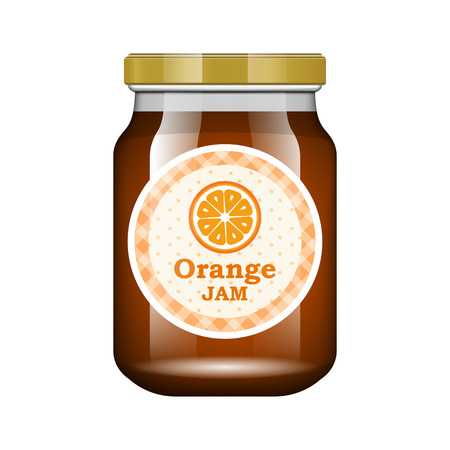 Jam orange. Glass jar with jam and configure. Vector illustration. Packaging collection. Label for jam. Bank realistic. Mock up glass jar with design label and logo.