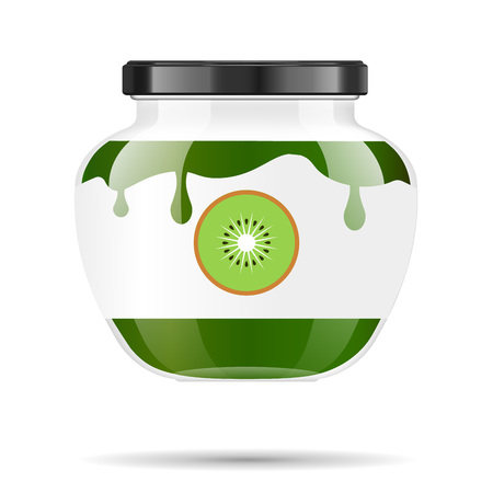Glass jar with jam and configure with kiwi. Vector illustration. Packaging collection. Label for jam. Bank realistic. Mock up glass jar with design label and logo.