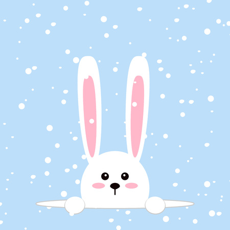 White easter rabbit. Funny bunny in flat style. Easter Bunny. On blue winter background, falling snowflakes. Vector illustration.