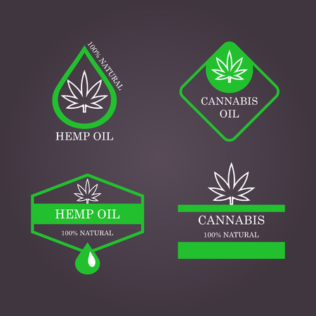 Marijuana leaf. Medical cannabis. Hemp oil. Natural cannabis. Icon product label and graphic template.