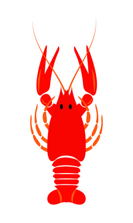 Crayfish icon. Red river lobster, langoustine or crustacean delicacies isolated on white background. Seafood design. Иллюстрация