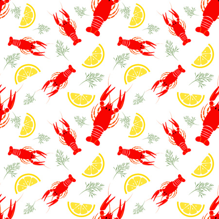 Seamless seafood pattern with boiled crayfish, lemon and dill. Crayfish food background. Great for seafood restaurant menu or kitchen decor. Illustration