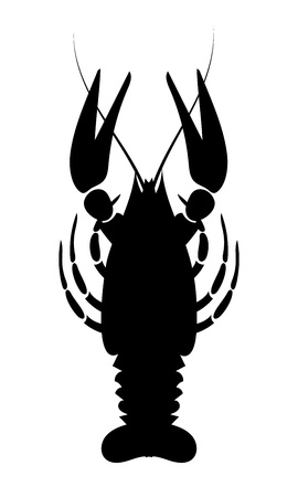 Crayfish icon. River lobster, langoustine or crustacean delicacies isolated on white background. Seafood design. Vector illustration.