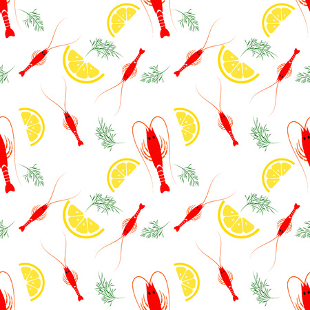 Seamless seafood pattern with boiled shrimp, lemon and dill. Shrimp food background. Great for seafood restaurant menu or kitchen decor.