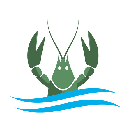 Crayfish icon.Green river lobster, langoustine or crustacean delicacies isolated on white background. Seafood design. Illustration