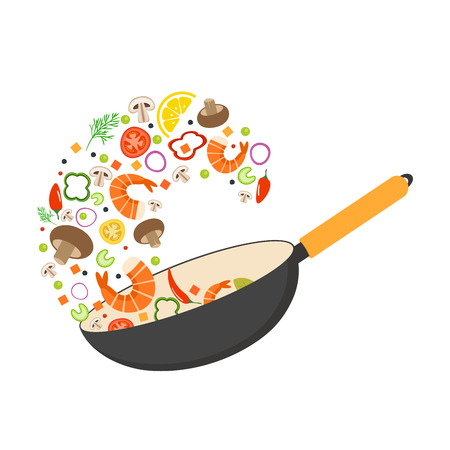 Wok pan, tomato, paprika, pepper, mushroom, shrimp. Asian food. Flying vegetables with seafood. Flat vector illustration