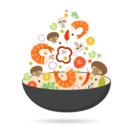 Wok pan, tomato, paprika, pepper, mushroom, shrimp. Asian food. Flying vegetables with seafood. Flat vector illustration.