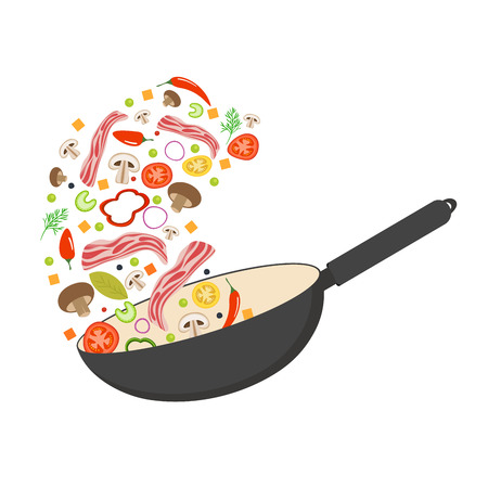 Wok pan, tomato, paprika, pepper, mushroom and bacon. Asian food. Flying vegetables with pork bacon. Flat vector illustration.