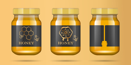 Realistic transparent glass jar with honey. Food bank. Honey packaging design. Mock up glass jar with design label or badges. Premium food product.