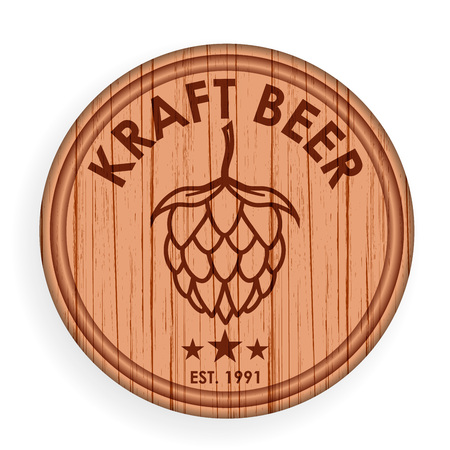 Round wooden signboard. Beer  design elements template for  label for steakhouse.