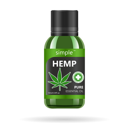 Realistic green glass bottle with cannabis. Mock up of hemp oil extracts, tablets or capsules in jars. Medical Marijuana label.