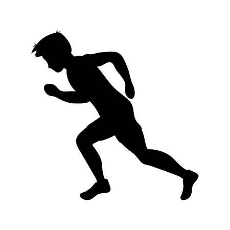 Running man silhouette. Runner. Flat vector illustration. Individual sport.