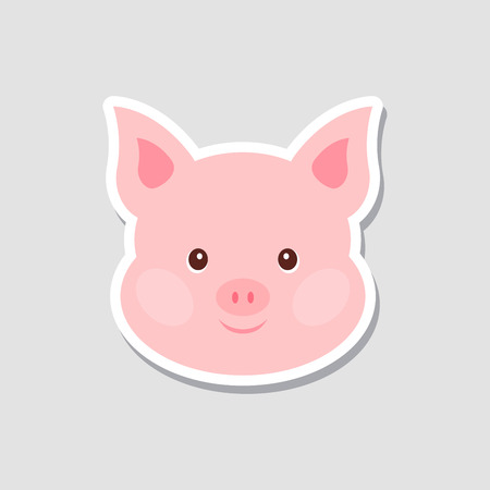 Christmas sticker. Portrait of pink pig. Funny cartoon face of farm animal. Vector illustration, Happy New Year