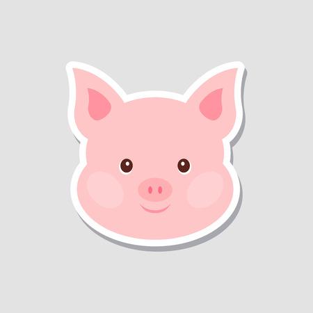 Pegatina navideña. Retrato de cerdo rosa. Cara de divertidos dibujos animados de animales de granja. Ilustración vectorial, feliz año nuevo