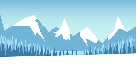Winter mountain landscape with forest and snow-covered field. Vector illustration