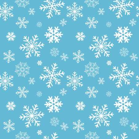 Winter blue background with white snowflakes. For textile, paper, scrapbooking, wrapping, web and print design. Seamless pattern. Vector illustration. Christmas and New Year design