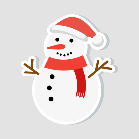 Christmas sticker. Snowman in a New Year hat and a red scarf. winter icon. Vector illustration