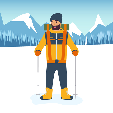 Cartoon climber with trekking sticks in hand and in full gear for a hike in the mountains. The concept of sport and competition. Flat design style. Vector illustration