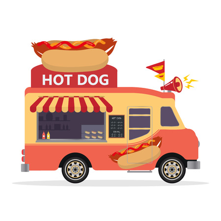 Hot dog Food Truck. Street Food Truck concept. Fast food on a white background. Flat design style. Vector illustration