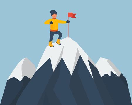 Scalatore in piedi sulla cima della montagna con una bandiera rossa. Giovane alpinista sorridente arrampicata su una roccia. Archivio Fotografico