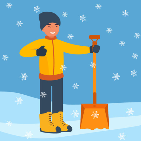 Happy man with a big winter shovel for snow to start cleaning the snow. Winter landscape with falling snowflakes. Flat design style.