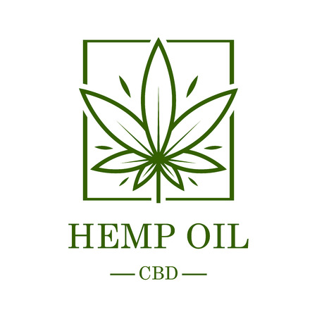 Marijuana leaf. Medical cannabis. Hemp oil. Cannabis extract. Icon product label and graphic template.