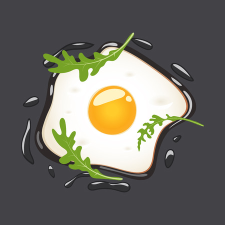 Fried eggs with arugula, isolated on grey background. Vector illustration